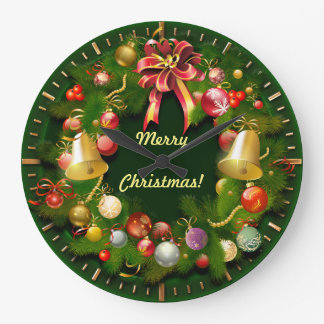 Classy Xmas Wreath With Personalized Message Large Clock