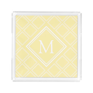 Classy Yellow and White Diamond Pattern Monogram
