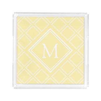 Classy Yellow and White Diamond Pattern Monogram Acrylic Tray