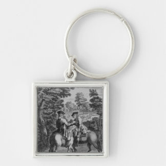 Claude Duval robbing Squire Roper Silver-Colored Square Key Ring