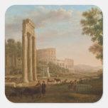 Claude Lorrain - Ruins of the Roman forum Square Sticker