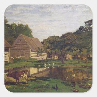 Claude Monet | A Farmyard in Normandy Square Sticker