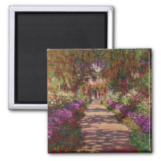 Claude Monet | A Pathway in Monet's Garden Square Magnet