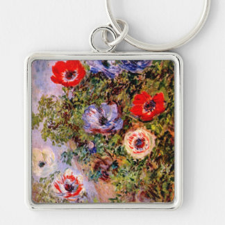 Claude Monet: Anemones Silver-Colored Square Key Ring