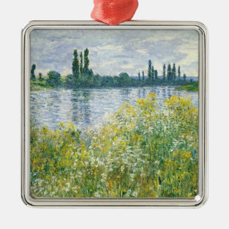 Claude Monet | Banks of the Seine, Vetheuil, 1880 Silver-Colored Square Decoration