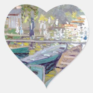 Claude Monet - Bathers at La Grenouillère Heart Sticker
