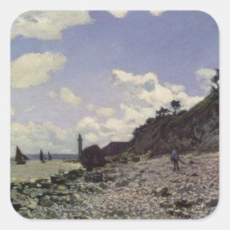 Claude Monet | Beach at Honfleur, 1864 Square Sticker