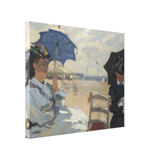 Claude Monet Beach Scene Stretched Canvas Print