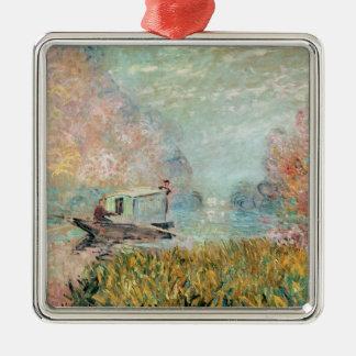 Claude Monet |  Boat Studio on the Seine Silver-Colored Square Decoration