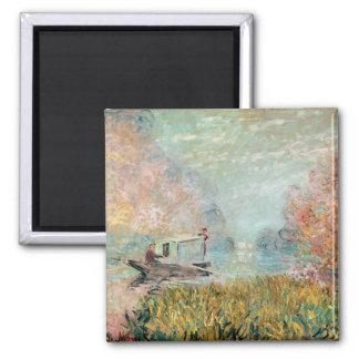 Claude Monet |  Boat Studio on the Seine Square Magnet