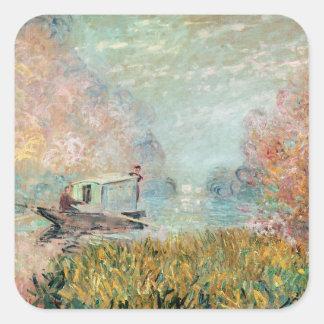Claude Monet |  Boat Studio on the Seine Square Sticker