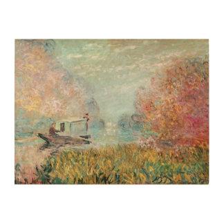 Claude Monet |  Boat Studio on the Seine Wood Canvas