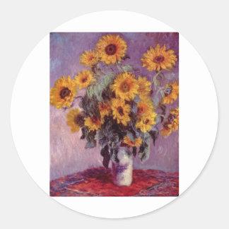 Claude Monet Bouquet of Sunflowers Classic Round Sticker