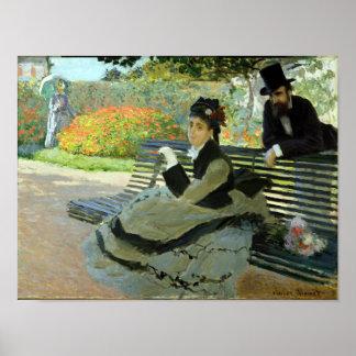 Claude Monet Camille on a Garden Bench Poster