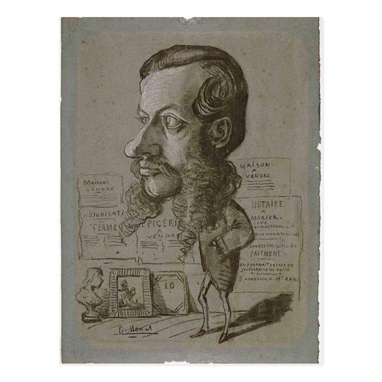 Claude Monet Caricature of L?on Manchon c. 1855-18 Postcard