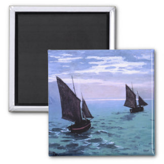 Claude Monet: Fishing Boats on their Way Square Magnet