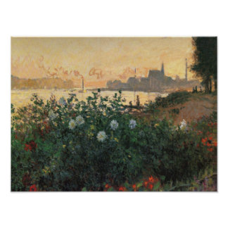 Claude Monet - Flowered Riverbank, Argenteuil Poster
