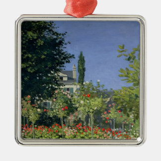 Claude Monet   Flowering Garden at Sainte-Adresse Silver-Colored Square Decoration