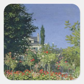 Claude Monet   Flowering Garden at Sainte-Adresse Square Sticker