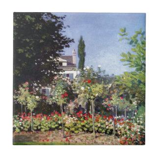 Claude Monet Flowering Garden Small Square Tile
