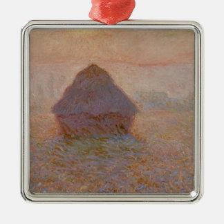 Claude Monet   Grainstack, Sun in the Mist Silver-Colored Square Decoration