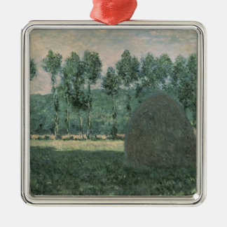 Claude Monet | Haystacks near Giverny, c.1884-89 Silver-Colored Square Decoration
