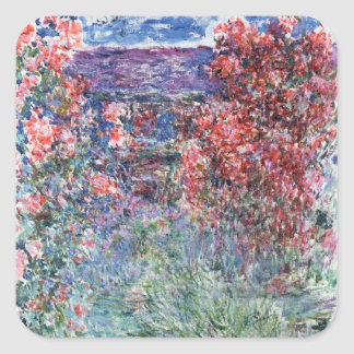 Claude Monet   House at Giverny under the Roses Square Sticker