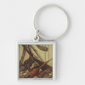 Claude Monet | Hunting Trophies, 1862 Silver-Colored Square Key Ring