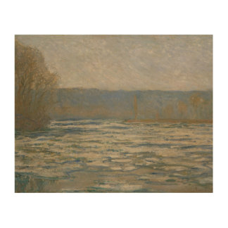 Claude Monet - Ice breaking up on the Seine Wood Canvas