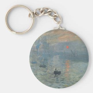 Claude Monet Impression Sunrise Soleil Levant Basic Round Button Key Ring