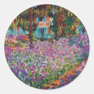 Claude Monet - Irises in Monet's Garden Fine Art Classic Round Sticker