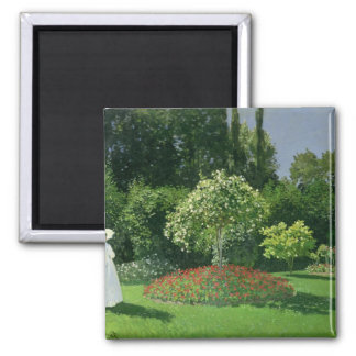 Claude Monet | Jeanne Marie Lecadre in the Garden Square Magnet