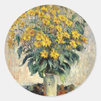 Claude Monet Jerusalem Artichoke Flowers 1880 Round Sticker