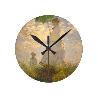 Claude Monet // La Promenade // Umbrella Wall Clocks