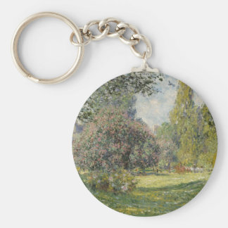 Claude Monet Landscape Basic Round Button Key Ring