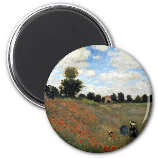 Claude Monet - Les Coquelicots 6 Cm Round Magnet