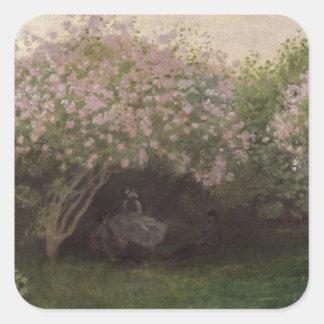 Claude Monet | Lilacs, Grey Weather, 1872 Square Sticker