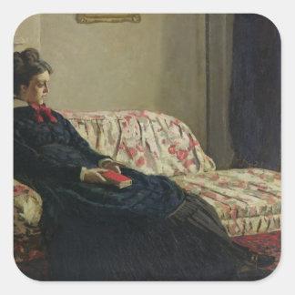 Claude Monet | Meditation or Madame Monet Square Sticker