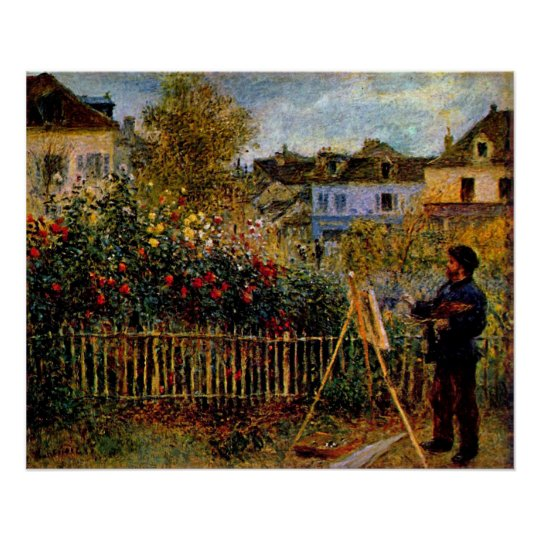 Claude Monet - Monet painting in his garden Poster