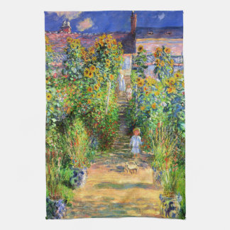 Claude Monet: Monet's Garden at Vétheuil Tea Towel