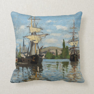 Claude Monet Nautical Ships Throw Pillow