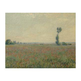 Claude Monet - Poppy Field Wood Canvas