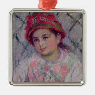Claude Monet | Portrait of Blanche Hoschede Silver-Colored Square Decoration