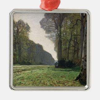 Claude Monet   Road to Bas-Breau, Fontainebleau Silver-Colored Square Decoration