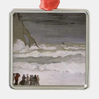 Claude Monet | Rough Sea at Etretat, 1868-69 Silver-Colored Square Decoration