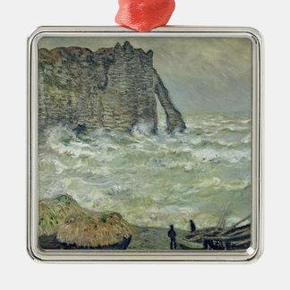 Claude Monet | Rough Sea at Etretat, 1883 Silver-Colored Square Decoration