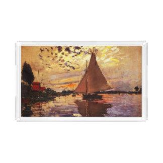 Claude Monet-Sailboat at Le Petit-Gennevilliers Acrylic Tray