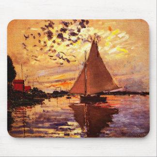 Claude Monet-Sailboat at Le Petit-Gennevilliers Mouse Mat