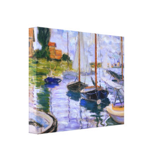 Claude Monet Sailboats on the Seine at Petit 1874 Canvas Print