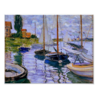 Claude Monet Sailboats on the Seine at Petit 1874 Poster